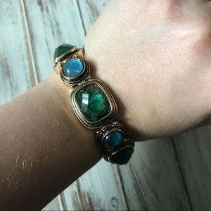Napier glass abalone gold tone stretch bracelet